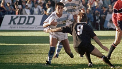 Aguja Gomez enfrenta a David Kirk en All blacks pumas 1987 mundial de rugby